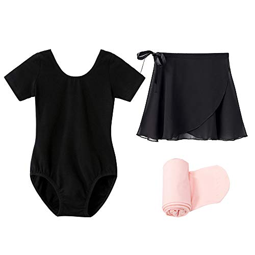 STELLE Short Sleeve Ballet Leotard Combo with Dance Skirt and Dance Tight (Black, 100)
