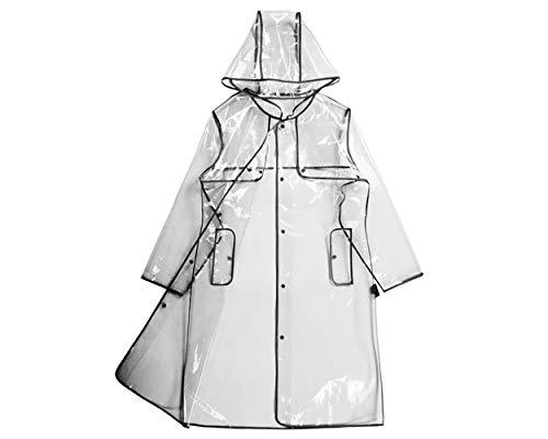 DSstyles Trasparente Impermeabile Donna EVA Fashion Cappotto antipioggia con cappuccio Impermeabile Poncho impermeabile con cappuccio - Lungo