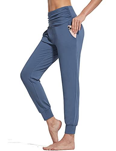 BALEAF Women's Lightweight Joggers High Waisted Harem Pants Workout Yoga Sweatpants Soft Lounge Pants with Pockets Navy Size L