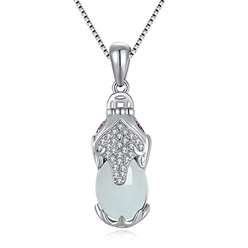 WCOCOW Feng Shui Jade Necklace S925 Pure Silver Natural Jade
