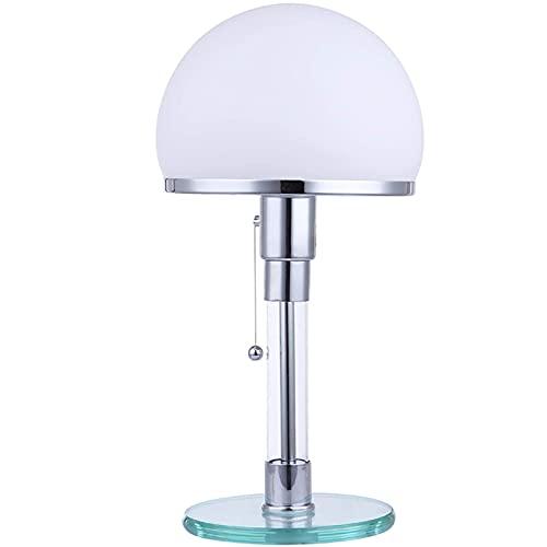 LED Tischleuchte Tischlampe Echtglas Schreibtischleuchten, Weiß Rund Glühbirnen Schreibtischlampe, Glas Sockel Beleuchtung Lampenschirm Lampen, Nachttischlampen E27 Leuchten Zugschalter Zugschnur