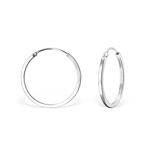 DTPsilver Pendientes de Aro para Mujer - Creoles con Borde Cuadrado - Plata de Ley 925 - Pequeños/Medianos - Espesor 2 mm - Diámetro 30 mm