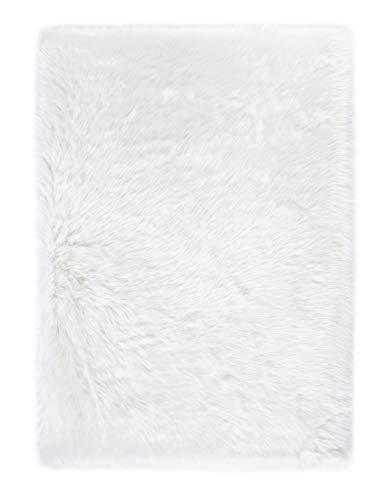 andiamo Teppich Kunstfell Ovium Schaffell Imitat für Wohnzimmer Schlafzimmer auf dem Stuhl, weiß, Acryl + Polyester, 160 x 230 cm