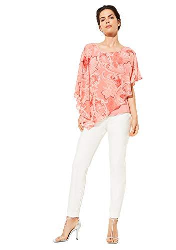 comma Damen Asymmetrische Cape-Bluse aus Chiffon Coral Paisley 46
