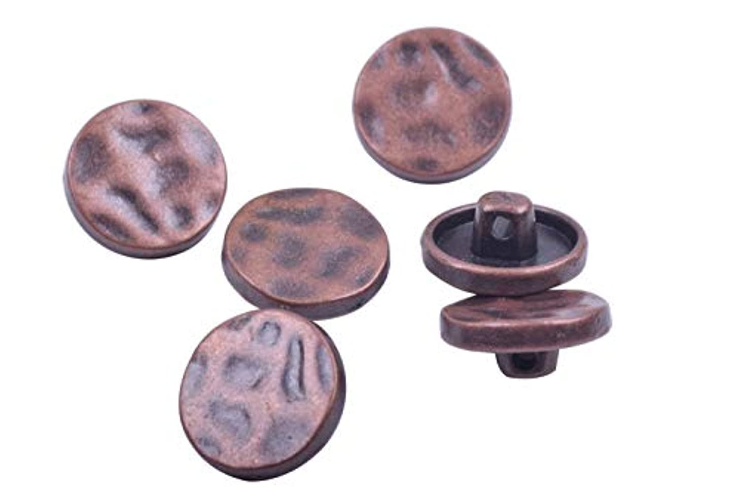 KONMAY 30pcs Antique Copper Metal Buttons with Shank for Bracelet Wrapping, Sewing,Crafting