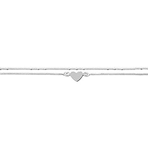 Large Size Double Chain Heart Sterling Silver Anklet - Adjustable 11' - 12' Inches / 28-31cms - Anklets for Women