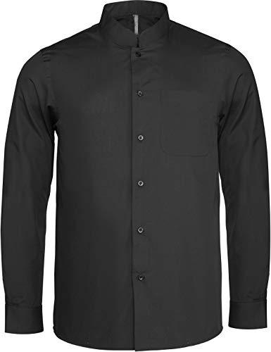 Hemd Mandarin-Kragen - Farbe: Black - Größe: XXL