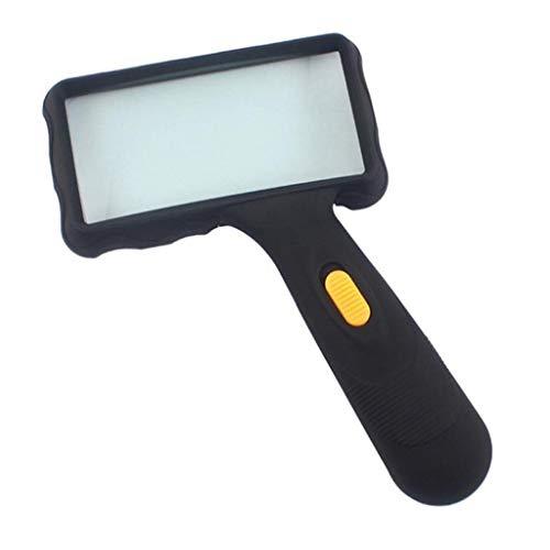 Lesen Lupe Lil LED 10X Hohe Vergrößerung Lupe Rechteckig Mit 2 Lichtern, Mit 10X 5,5 Zoll Objektiv Lampe for Bücher Schmuck
