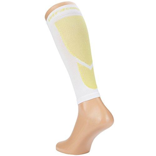 Ultrasport Kompressions-Beinlinge, Hochleistungs-Kompressions-Wadenschoner Level 23-32 mmHg: Beinstulpen für intensiven Laufsport, Weiß/Grün, 25-31 - 2