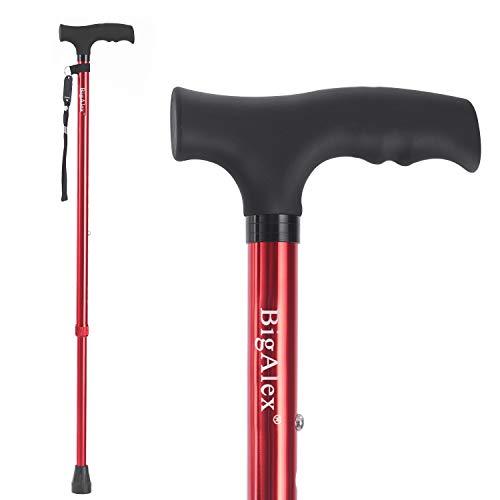 BigAlex Walking Cane,Adjustable Walking Cane,Flexible,Lightweight,Adjustable, Portable Hand Walking Stick - Balancing Mobility Aid - Sleek, Comfortable T Handles for Men for Women(Red)