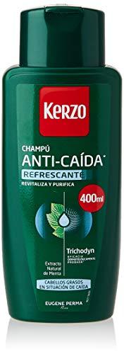 Kerzo - Champú Anticaída - Refrescante - para Cabellos Grasos en Situación de Caída, con Extrato Natural de Menta, para Hombre y Mujer, Verde, 400 Mililitros