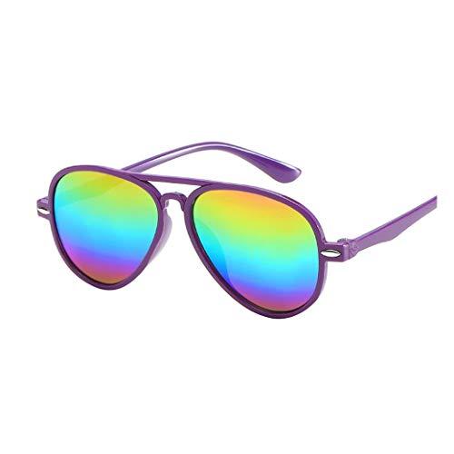 zolimx_niñas Retro Anti-UV Gafas de Sol Color de la Película Gafas de Nuevo Fresco Bebé Chico Niñas Gafas (Púrpura)