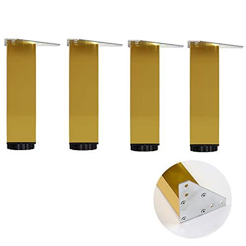 JYMEI 4 Piezas pies Muebles aleación Aluminio,Supporting Foot Patas Muebles,Gabinete Patas Regulables Patas para Mueblesble Armario de Cocina Pies Cuadrado,Dorado (9 tamaños)