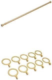 【セット買い】平安伸銅工業 強力タイプの突っ張り棒 木目 耐荷重10~6kg 取付寸法110~190cm パイプ直径2.2・1.9cm NSM-11 + 対応カーテンリング