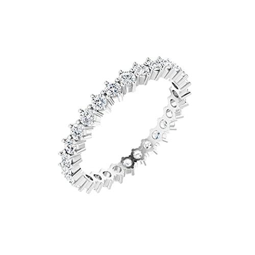 Anillo de eternidad de diamante pulido de 0,88 quilates, tamaño N 1/2, joyería regalo para mujer
