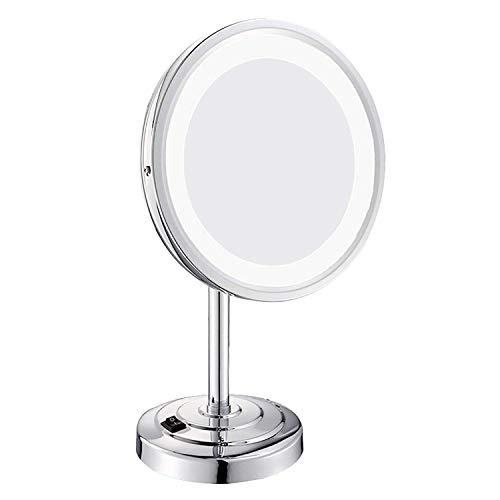 Espejo de Maquillaje Espejo de tocador con luz LED de sobremesa de un Solo Lado 8 Pulgadas 3 aumentos con un Soporte de Pedestal Antideslizante Acabado en Cromo Pulido (Color: Plata Tamaño: 8