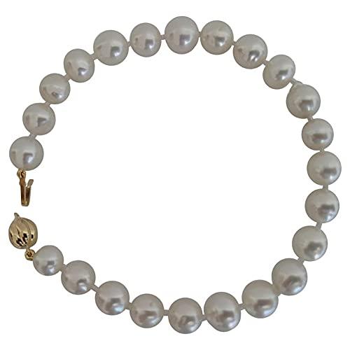 Pulsera de Mujer, Perlas Australianas 8-9 mm Color Blanco Plateado y Lustre Alto, Broche Oro 18K