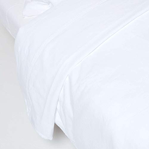 Homescapes Luxus Leinen Bettlaken Weiß Unifarben 230 x 255 cm Betttuch/Haustuch/Oberlaken Einfarbig Exklusive 100% Reine Baumwolle und Natur Französisches Leinen Flachs Mischung