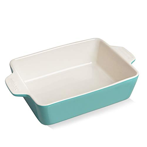 SWEEJAR Ceramic Baking Dish, Rectangular Small Baking Pan with Double Handles, 22OZ for Cooking, Brownie, Kitchen, 6.5 x 4.9 x 1.8 Inches(Turquoise)