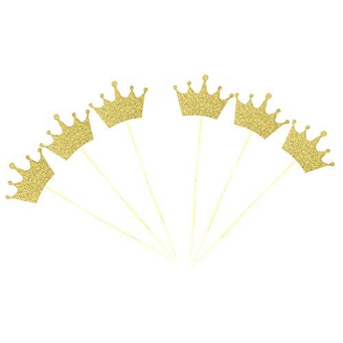 Amosfun Baby Cupcake Topper Glitter Tiara Cake Topper Mini Kuchen Picks für Baby Dusche Kinder Geburtstag 40pcs (golden)