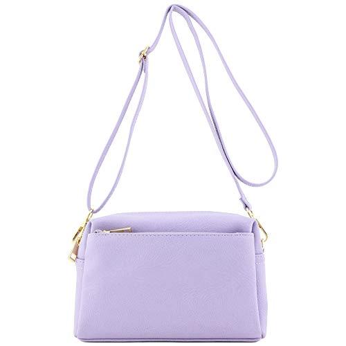 FashionPuzzle Umhängetasche mit 3 Reißverschlüssen, klein, Violett (lavendel), Einheitsgröße
