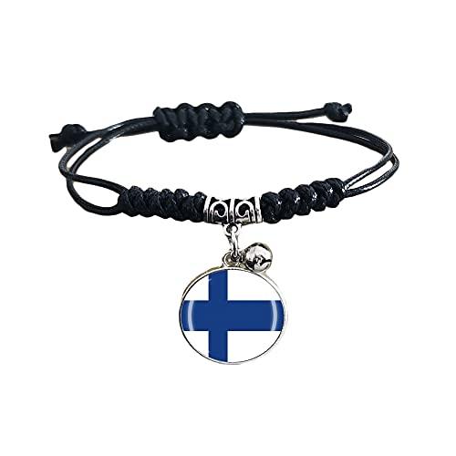 Pulsera trenzada de la bandera de Finlandia con cadena de nailon ajustable, pulsera hecha a mano para hombre y mujer