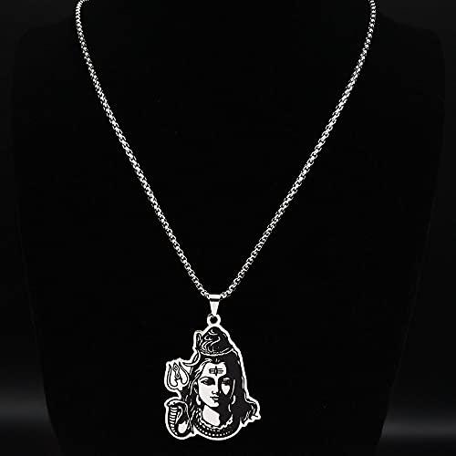 QNONAQ Acero Inoxidable joyería Esmalte Negro Inoxidable & nbspsteel Shiva Parvati Ganesha Indio Arte hindú Dios Figura religiosos Collares Colgantes joyería (Metal Color : 50cm Box SR)