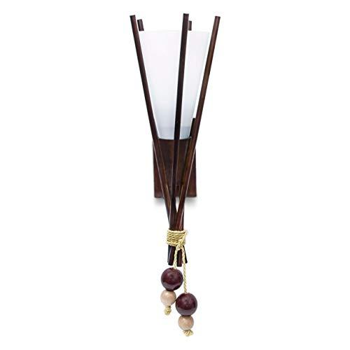 Relaxdays Wandleuchte Fackel, Birkenholz & Milchglas, E27-Fassung, afrikanisch, Wandlampe, HBT 15 x 45 x 17 cm, braun