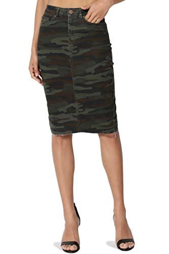 TheMogan Women's Butt Lift Washed Blue Jean Pencil Midi Soft Denim Skirt Army Olive S