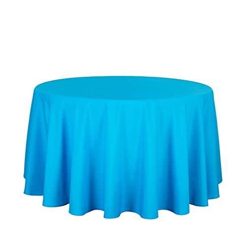 N/K Accesorios de Sala de Estar Manteles Redondos para Decoraciones de Boda Mantel navideño Cubiertas de Mesa de Hotel Cocina Comedor Cena Picnic (Color: Azul Zafiro Tamaño: Redondo 220 cm)