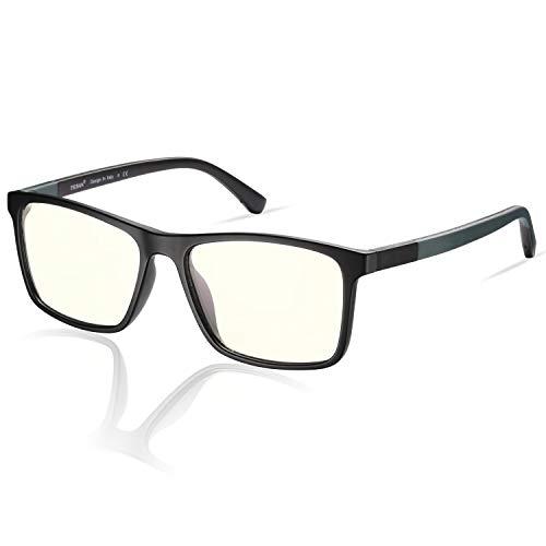 TSEBAN zonnebril met blauw licht voor dames heren anti-vermoeidheid van de visuele pijn computer lezen/spelen/televisie/telefonie (bril met blauw licht en zwart frame)
