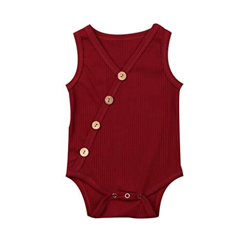 wuayi Body pour Bébé, Combinaison de Culottes pour Garçons Filles Couleur Pure sans Manches Barboteuses Globale 0 - 24 Mois