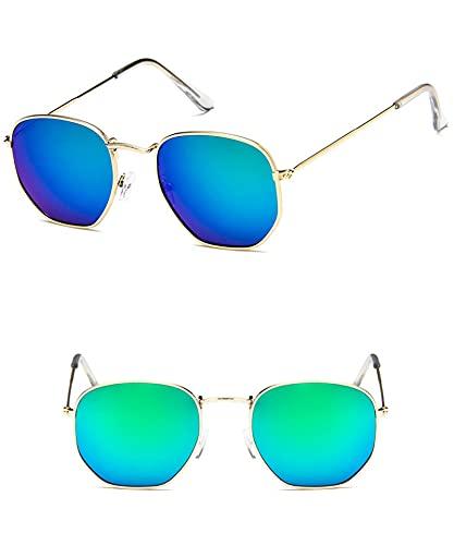 Moda Gafas De Sol Clásicas Clásicas De Metal para Mujer, Gafas De Diseño De Marca De Lujo, Gafas De Conducción para Mujer, 12 Dorado-Verde
