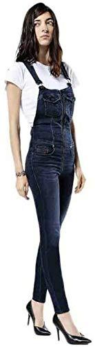 Diesel Damen Jeans Hose Jede-NE Tuta Jogg Jeans Women Sweat Pants Latzhose 0842W Stretch XXS