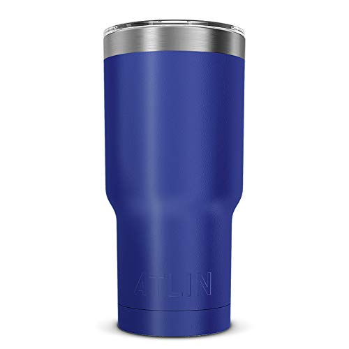 Atlin Tumbler [30 oz. Double Wall Stainless Steel Vacuum Insulation] Travel Mug [Crystal Clear Lid] Water Coffee Cup [Straw Included] (Cobalt) For Home,Office,School, Ice Drink, Hot Beverage