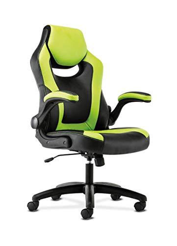 Sadie Racing Gaming Computer Chair- Flip-Up Arms, Black and Green Leather (HVST914)
