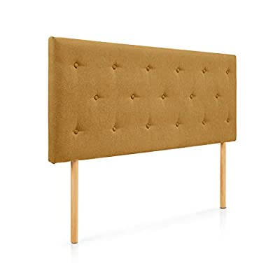 Cabecero tapizado acolchado para dormitorios con estructura en madera de pino Cabecero de cama acolchado con espumación HR Cabecero tapizado en tela antimanchas Para camas de 135 (145 x 100 cm) tela mostaza