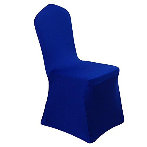 Spandex Dining Chair Cover Covers for Wedding Banquet (Royal Blue)