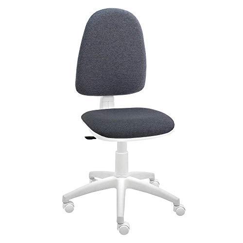 Silla giratoria Blanca de Oficina y Escritorio, Modelo Torino, diseno 100% Blanco ergonomico con Contacto Permanente (Gris)