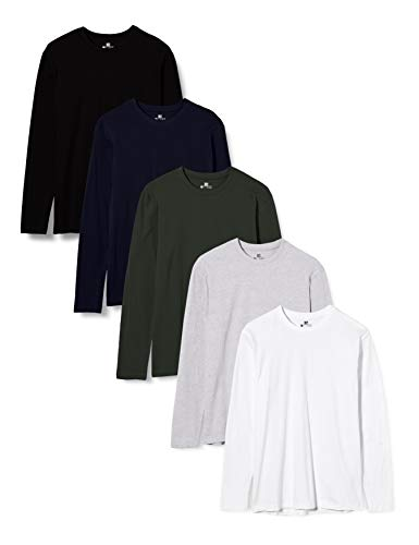 Lower East T-Shirt a Maniche Lunghe Uomo, Pacco da 5, Mehrfarbig (Weiß/Schwarz/Grau/Blau/Grün), Medium