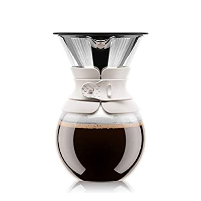 Bodum Pour-Over Coffee Maker with Permanent Filter, White, 34-Oz.