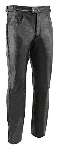 M-BOSS MOTORCYCLE APPAREL-BOS15571-BLACK-Men's motorcycle cowhide leather overpants-BLACK-40