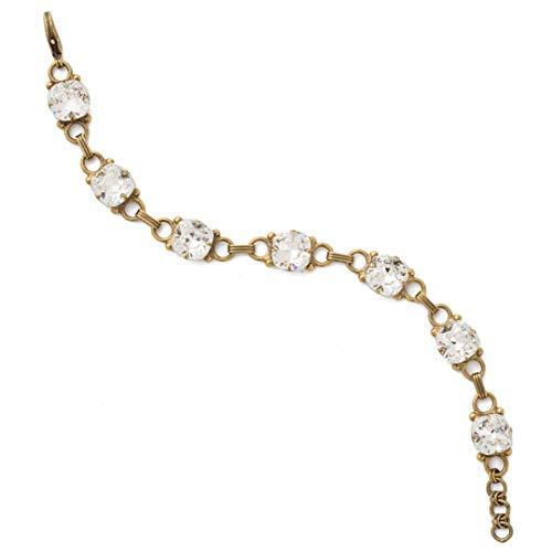 Sorrelli Essentials Eyelet Line Bracelet, Antique Gold-Tone Finish, Crystal