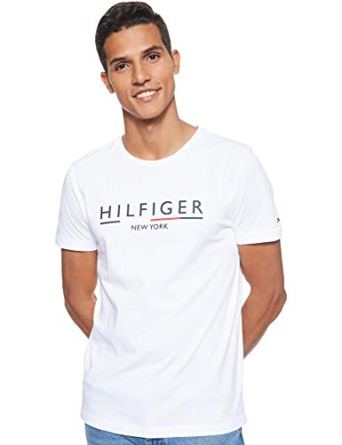 Tommy Hilfiger Corp Underline Tee Top Sportivo, (Bright White Yaf), Small Uomo