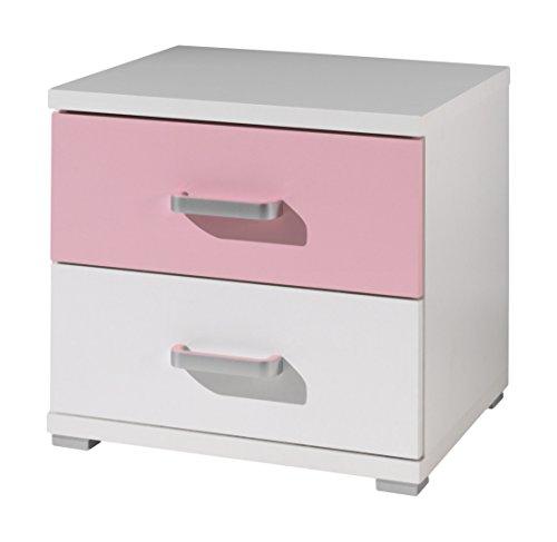 Vipack Valentine-Table de Chevet-Blanc/Rose