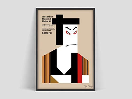 Cartel de Ikko Tanaka Samurai, cartel de arte japonés, impresión de arte minimalista de Japón, cartel abstracto de Tanaka, lienzo sin marco I 60x80cm
