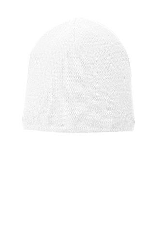 Port & Company Unisex-adult Fleece-Lined Beanie Cap CP91L -White OSFA