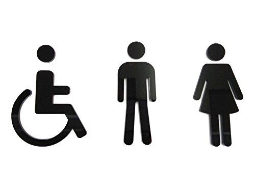 Grupo B58 Señal aseos metacrilato Negro - Hombre Mujer Discapacitado - P02