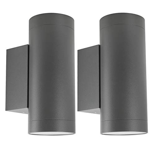 Klighten 2 Piezas Aplique de pared Exterior Arriba Abajo Lámpara Exterior IP65 Lámpara de Pared Moderna de Aluminio para Entrada Pasillo Jardín, Zócalo GU10, Bombilla no Incluida, Gris Oscuro