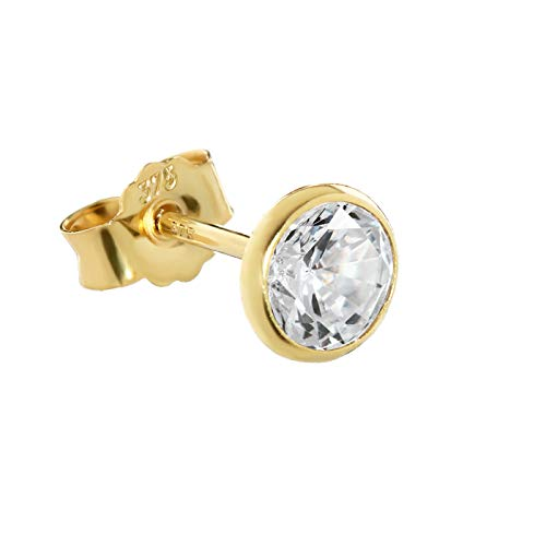 NKlaus single 5,3mm calyx stud earrings yellow gold 375 gold earring 9 carat cubic zirconia white 2607